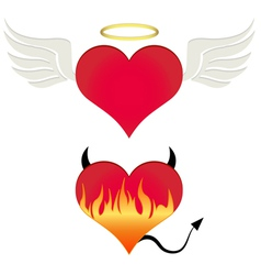 Angel-devil heart vector