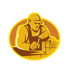 Mason brick layer construction worker vector