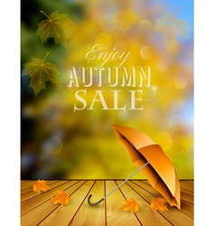Autumn sale background with an umbrella vector