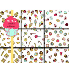 9 pattern set with doodle sweets vector image