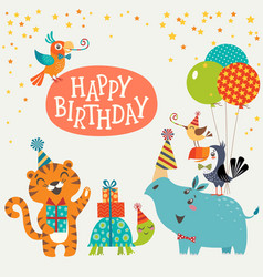 Cute jungle animals happy birthday card vector