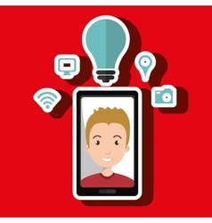 Smart phone and man isolated icon design vector