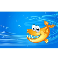 A sea with a yellow shark vector image