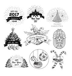 abstract christmas logos set vector image