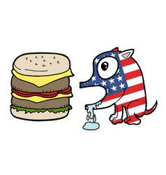 American burger dog vector