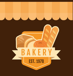Bakery badge est 1978 background vector