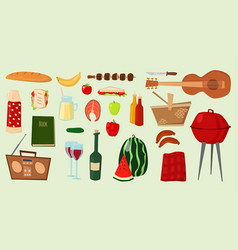 Barbecue icons food products bbq grilling vector