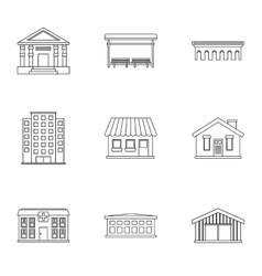 Construction of city icons set outline style vector