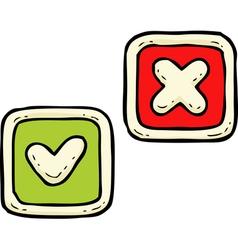 Delete and check button vector