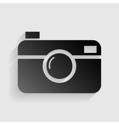 Digital photo camera sign Black paper with shadow vector image vector image