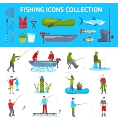 Fishing flat icons 2 banners set vector