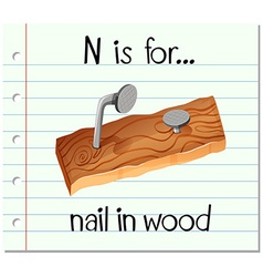 Flashcard alphabet N is for nail in wood vector image