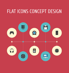 Flat icons system unit earphones web cam and vector