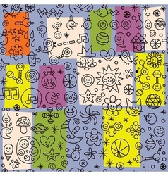 fun cartoon seamless retro pattern vector image