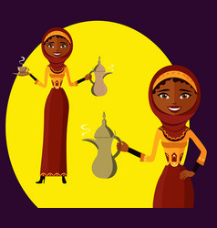 Good-looking woman holding an arabic coffee pot vector