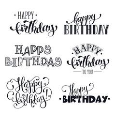 Hand written happy birthday phrases vector