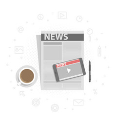 newspaper and mobile phone with online video news vector image