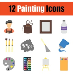 Painting icon set vector image vector image