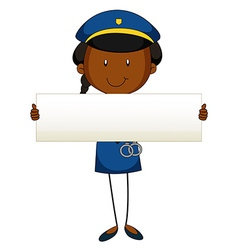 Police officer holding blank sign vector