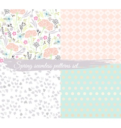 Seamless spring floral patterns set vector image vector image