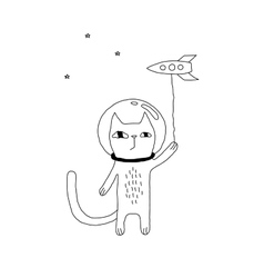 Space Cat Drawing vector image vector image