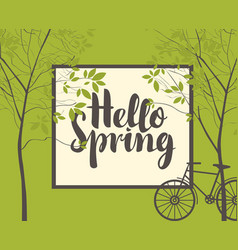 spring landscape with trees bike and inscription vector image vector image