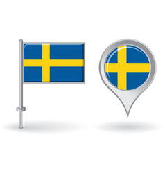 Swedish pin icon and map pointer flag vector
