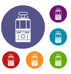 Tram front view icons set vector