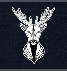 Vintage with deer head hipster print sticker or vector