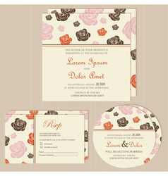 wedding invitation cards with roses vector image