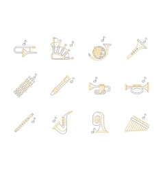 Woodwind music instruments flat line icons vector