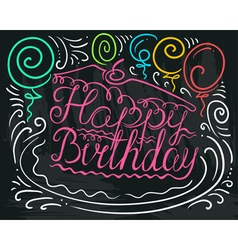 Happy birthday lettering in piece of cake vector