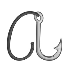 Hook on rope icon black monochrome style vector