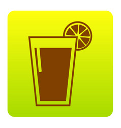 glass of juice icons brown icon at green vector image