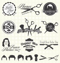 Vintage barber shop labels vector