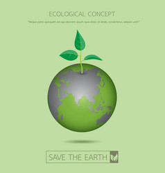 Eco sapling on earth vector