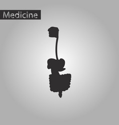 black and white style icon of digestive system vector image