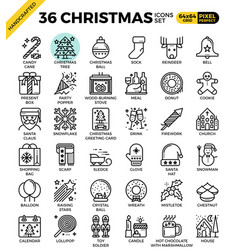 Merry christmas xmas celebration outline icons vector