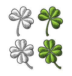 Good luck four and three leaf clover vintage vector