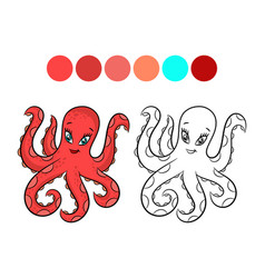 octopus coloring book vector image