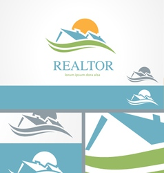 Real estate housing valley logo concept template vector