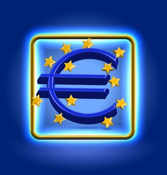Euro currency sign neon icon vector image