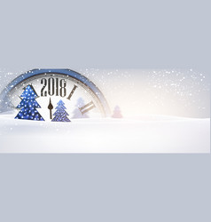 2018 new year banner with clock vector image