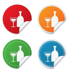 Alcohol sign drink symbol bottle with glass vector