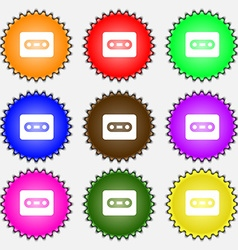 Cassette icon sign a set of nine different colored vector
