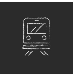 Back view of train icon drawn in chalk vector