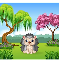 Cartoon funny hedgehog sitting in the jungle vector image