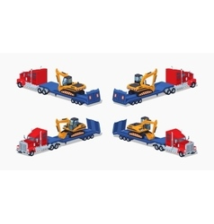 Red heavy truck with yellow excavator on the blue vector