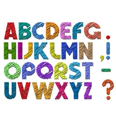 Multicolor scribble alphabet vector