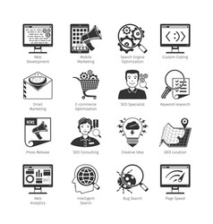 Seo and web development black icons vector